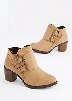 Taupe Double Buckle Strap Heel Bootie By Hot Kiss