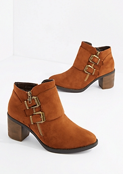 Camel Double Buckle Strap Heel Bootie By Hot Kiss