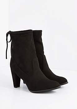 Black Drawstring Mid Calf Heel Boot By Hot Kiss