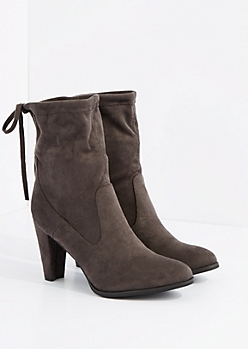 Gray Drawstring Mid Calf Heel Boot By Hot Kiss