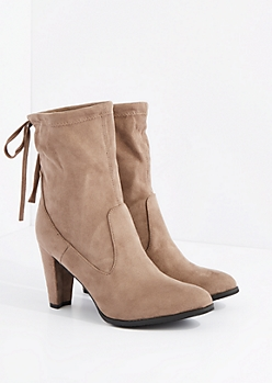 Taupe Drawstring Mid Calf Heel Boot By Hot Kiss