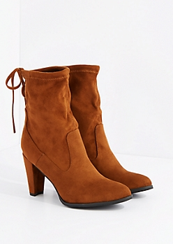 Tan Drawstring Mid Calf Heel Boot By Hot Kiss