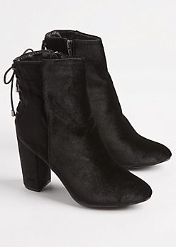 Black Velvet Lace Up Bootie By Hot Kiss
