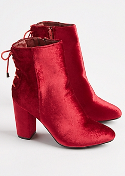 Burgundy Velvet Lace Up Bootie By Hot Kiss