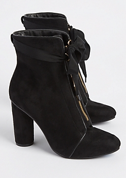 Black Ribbon Tie Booties By Hot Kiss