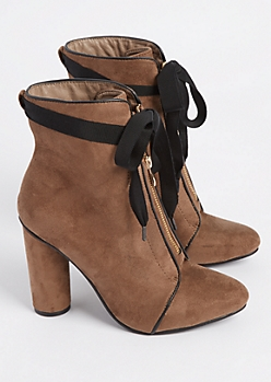 Taupe Ribbon Tie Booties By Hot Kiss