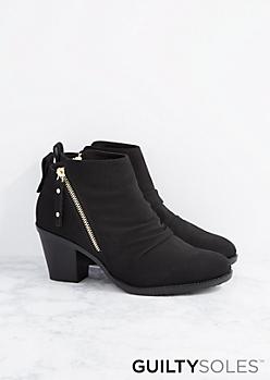 Black Sonya Zip Side Ankle Boot by GuiltySoles
