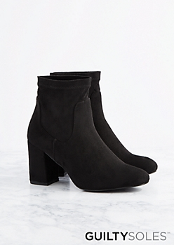 Black Brandy Vegan Suede Ankle Boot by GuiltySoles