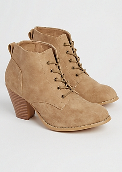Tan Washed Faux Leather Heeled Bootie
