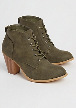 Olive Washed Faux Leather Heeled Bootie