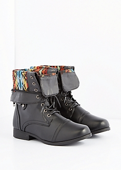 Black Tribal Cuffed Lace-Wrapped Combat Boot