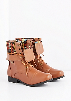 Cognac Tribal Cuffed Lace-Wrapped Combat Boot