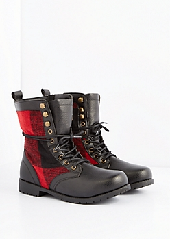 Red Buffalo Plaid Combat Boot