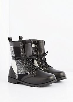 Black Buffalo Plaid Combat Boot