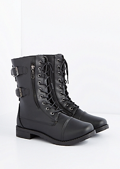 Black Buckled Combat Boot