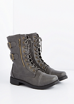 Gray Buckled Combat Boot