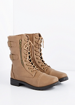Taupe Buckled Combat Boot