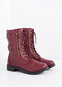Burgundy Buckled Combat Boot