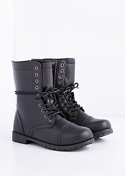 Black Lace-Wrapped Combat Boot