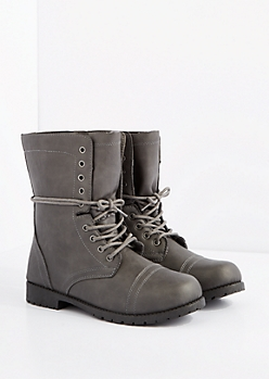 Gray Lace-Wrapped Combat Boot