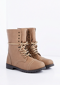 Taupe Lace-Wrapped Combat Boot
