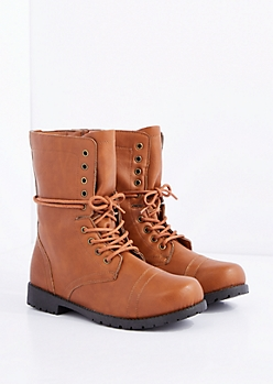 Cognac Lace-Wrapped Combat Boot