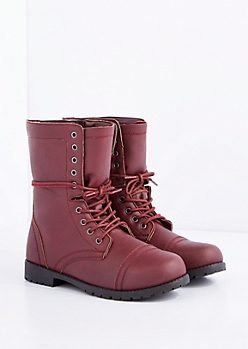 Burgundy Lace-Wrapped Combat Boot