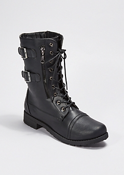 Black Lace Up Buckled Combat Boot