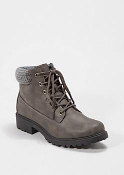 Gray Lug Knit Cuffed Hiking Boot
