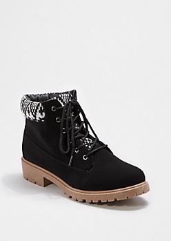 Black Tribal Knit Cuff Hiking Boot