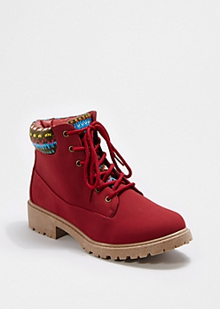 Burgundy Tribal Knit Cuff Hiking Boot