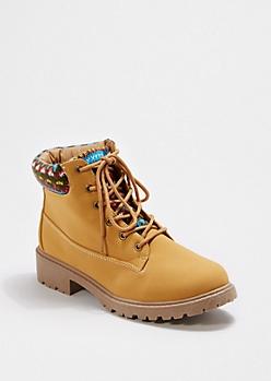 Tan Tribal Knit Cuff Hiking Boot