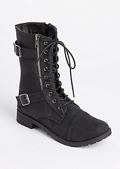 Black Double Buckled Combat Boot