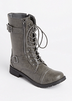 Gray Double Buckled Combat Boot