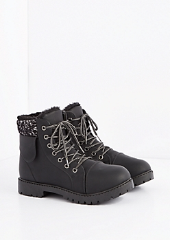 Black Sherpa Trim Hiking Boot