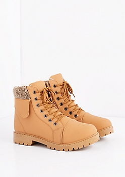 Cognac Sherpa Trim Hiking Boot