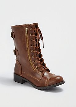 Tan Back Buckled Combat Boot by Soda®