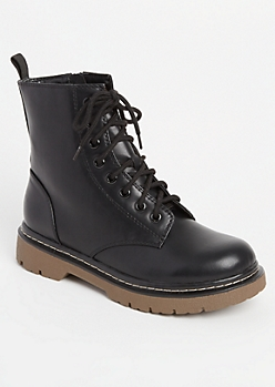 Lace-Up Black Combat Boots