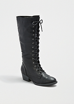 Black Lace-Up Combat Boot By Qupid®