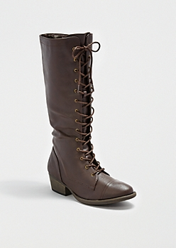 Brown Lace-Up Combat Boot By Qupid®