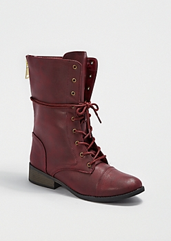 Vintage Vegan Leather Combat Boot By Qupid®