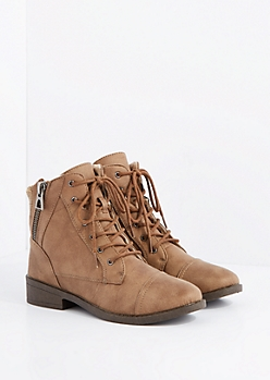 Taupe Sweater Trim Lace-Up Ankle Boot by Qupid