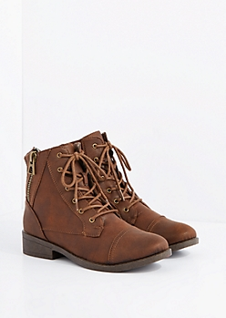 Brown Sweater Trim Lace-Up Ankle Boot by Qupid