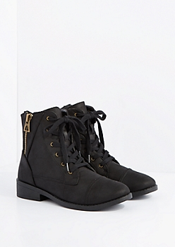 Black Side Zip Lace-Up Ankle Boot by Qupid