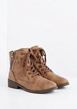 Taupe Side Zip Lace-Up Ankle Boot by Qupid