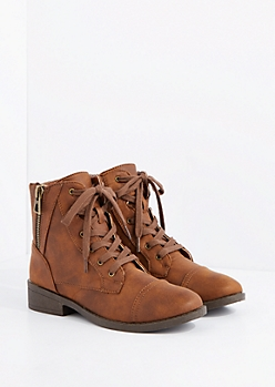 Brown Side Zip Lace-Up Ankle Boot by Qupid