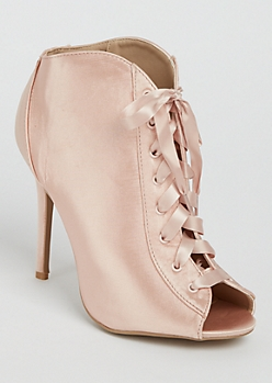 Light Pink Lace Up Peep Toe Booties