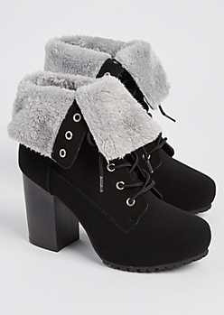 Black Faux Fur Lined Hiking Bootie By Qupid
