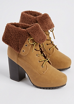 Camel Faux Fur Lined Hiking Bootie By Qupid