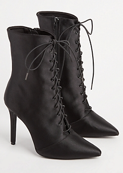 Black Lace Up Satin Bootie By Qupid